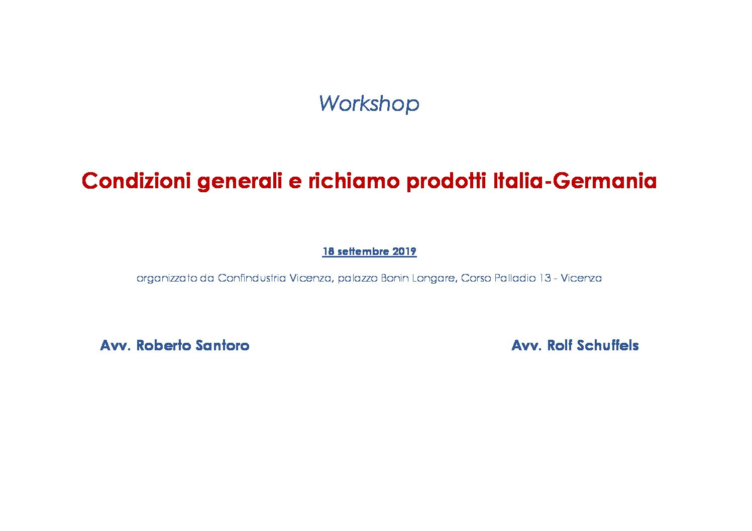 Italy and Germany: general conditions of sale and defective product recall