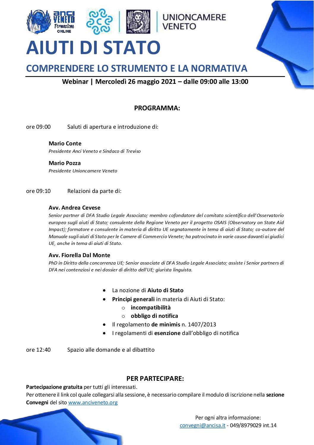 DFA e ANCI Veneto per la formazione dei Comuni in materia di Aiuti di Stato